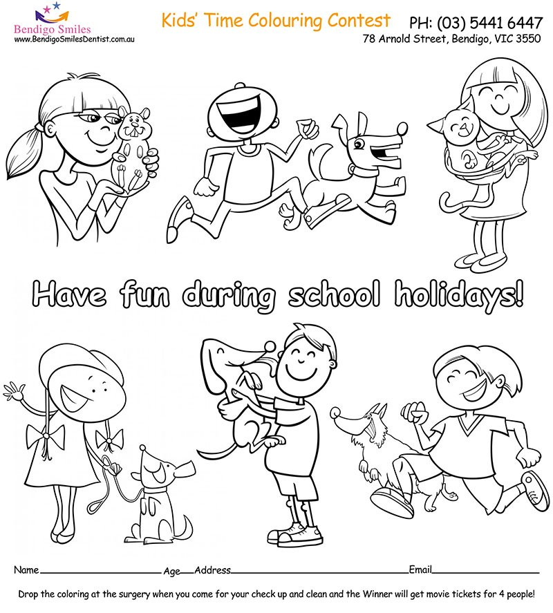 bendigo smiles dentist colouring page school holidays dentist bendigo bendigo smiles dentist. Black Bedroom Furniture Sets. Home Design Ideas